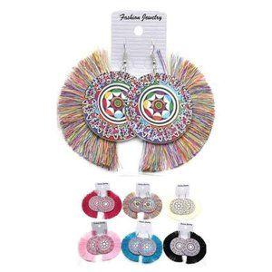 🇺🇸 3/$30 Aztec Round Wood Tassel Dangle Earrings